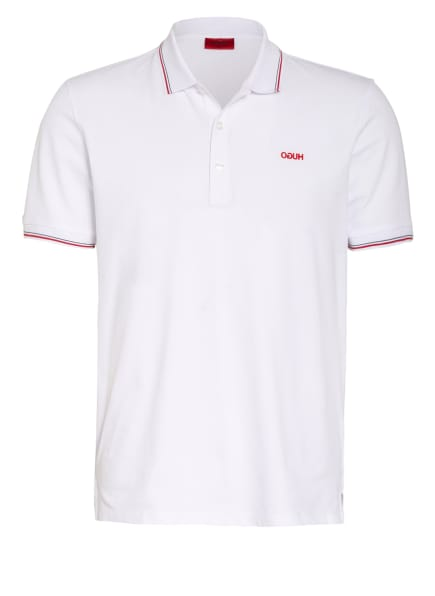 HUGO Piqué-Poloshirt DINOSO Slim Fit, Farbe: WEISS/ ROT (Bild 1)