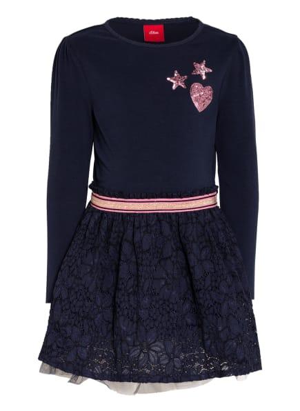s.Oliver RED Jerseykleid mit Lochspitze und Paillettenbesatz, Farbe: DUNKELBLAU/ ROSA (Bild 1)