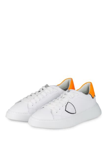 PHILIPPE MODEL Sneaker TEMPLE, Farbe: WEISS/ NEONORANGE (Bild 1)