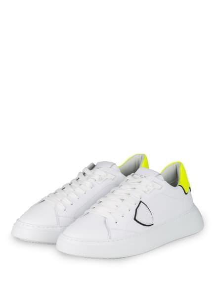 PHILIPPE MODEL Sneaker TEMPLE, Farbe: WEISS/ NEONGELB (Bild 1)