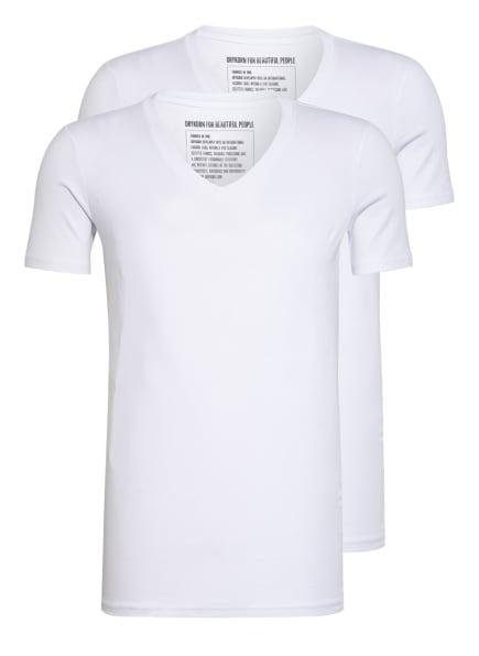 DRYKORN 2er-Pack V-Shirts CARIS , Farbe: 60 WEISS (Bild 1)