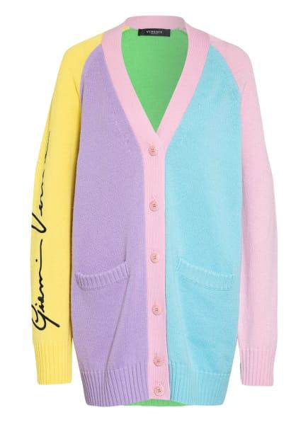 VERSACE Strickjacke aus Cashmere, Farbe: HELLBLAU/ HELLLILA/ HELLGRÜN (Bild 1)