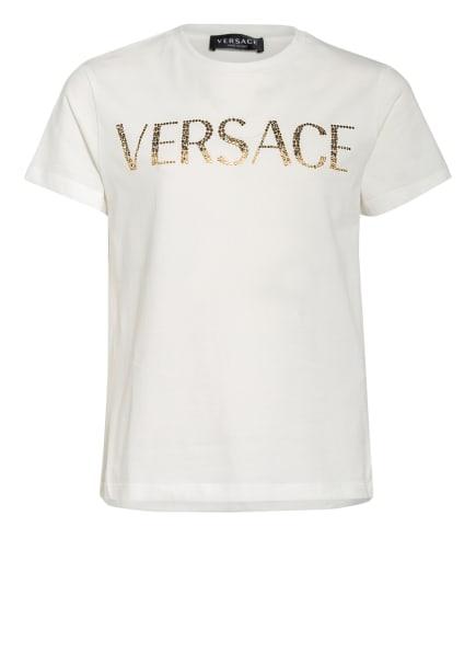 VERSACE T-Shirt mit Schmucksteinbesatz, Farbe: WEISS (Bild 1)