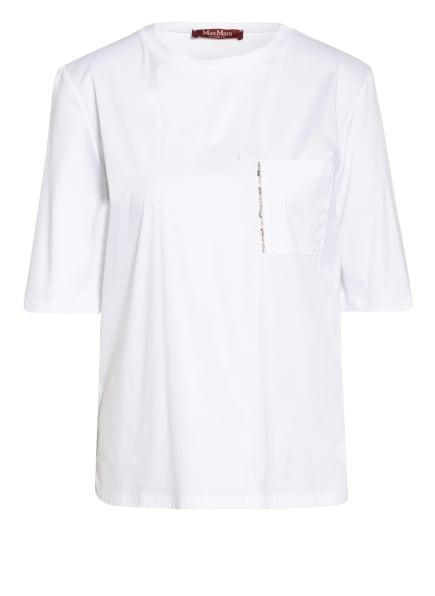 MaxMara STUDIO T-Shirt mit Schmucksteinbesatz, Farbe: WEISS (Bild 1)