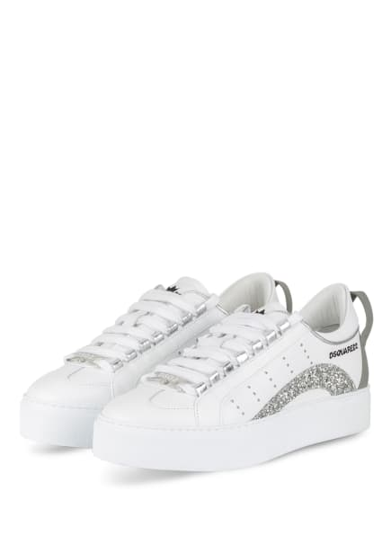 DSQUARED2 Plateau-Sneaker, Farbe: WEISS/ SILBER (Bild 1)