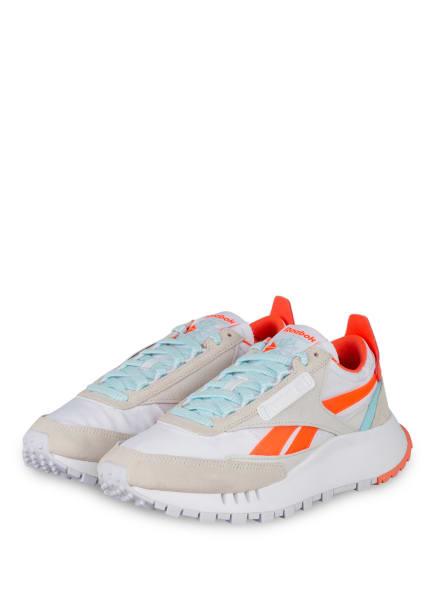 Reebok CLASSIC Plateau-Sneaker CLASSIC LEATHER LEGACY, Farbe: WEISS/ HELLBLAU/ ORANGE (Bild 1)