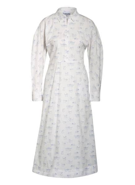GANNI Kleid, Farbe: WEISS/ BLAU (Bild 1)