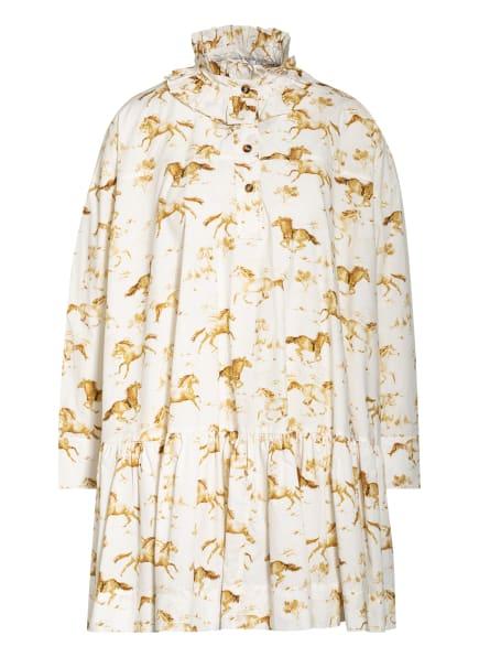 GANNI Kleid mit Rüschenbesatz, Farbe: ECRU/ COGNAC (Bild 1)