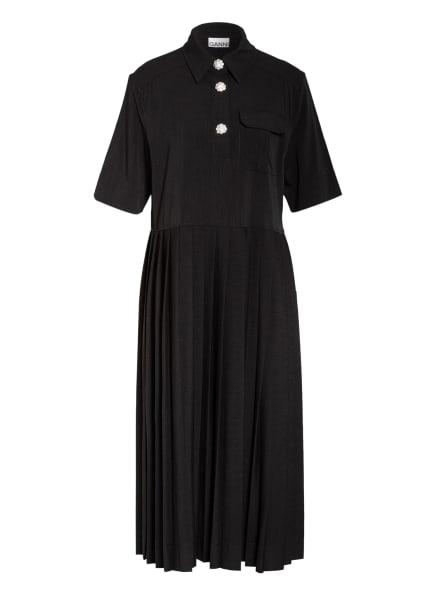 GANNI Kleid mit Schmucksteinbesatz, Farbe: SCHWARZ (Bild 1)