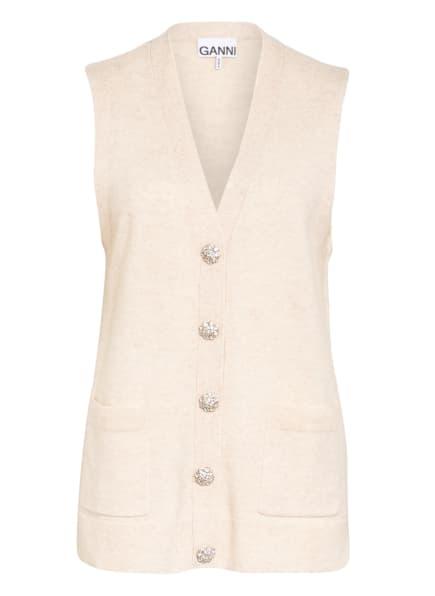 GANNI Strickweste aus Cashmere mit Schmucksteinbesatz, Farbe: CREME (Bild 1)
