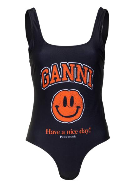 GANNI Badeanzug , Farbe: SCHWARZ/ ORANGE/ WEISS (Bild 1)