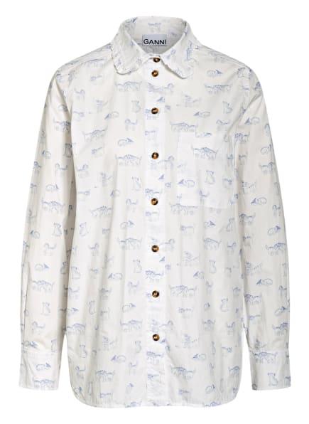 GANNI Hemdbluse mit Rüschenbesatz, Farbe: WEISS/ BLAU (Bild 1)