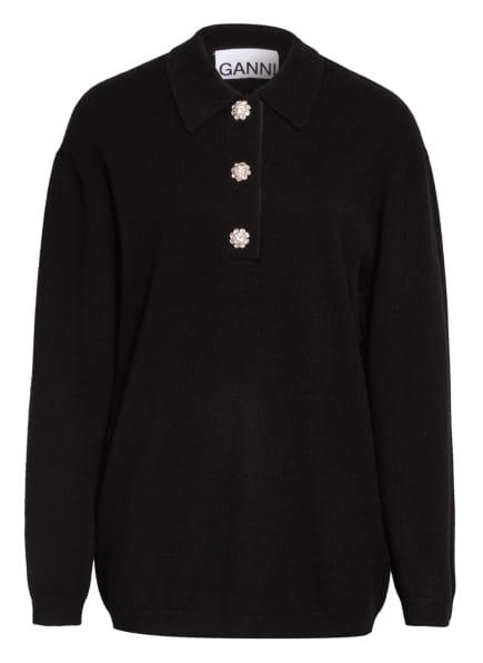 GANNI Cashmere-Pullover mit Schmucksteinbesatz, Farbe: SCHWARZ (Bild 1)
