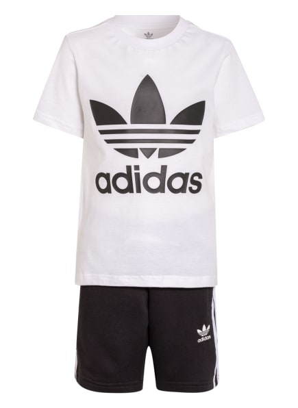 adidas Originals Set: T-Shirt und Shorts ADICOLOR, Farbe: WEISS/ SCHWARZ (Bild 1)