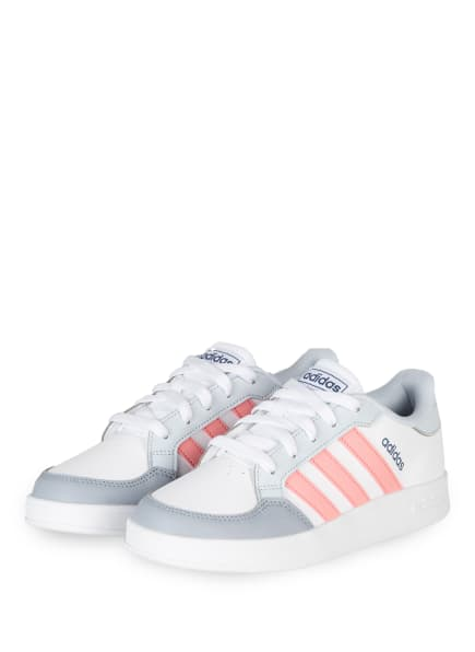 adidas Sneaker BREAKNET, Farbe: WEISS/ GRAU/ ROSA (Bild 1)
