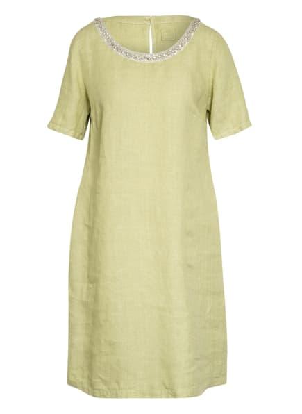 120%lino Leinenkleid mit Schmucksteinbesatz, Farbe: HELLGRÜN (Bild 1)