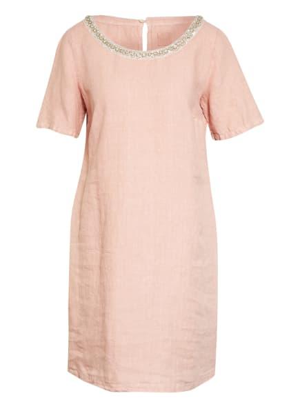 120%lino Leinenkleid mit Schmucksteinbesatz, Farbe: ROSA (Bild 1)