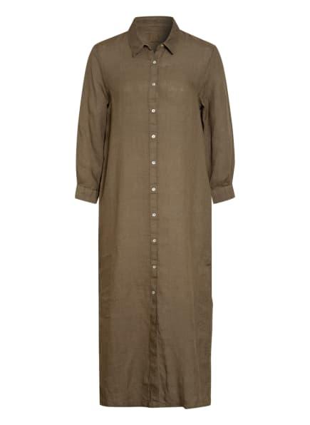 120%lino Hemdblusenkleid aus Leinen, Farbe: OLIV (Bild 1)