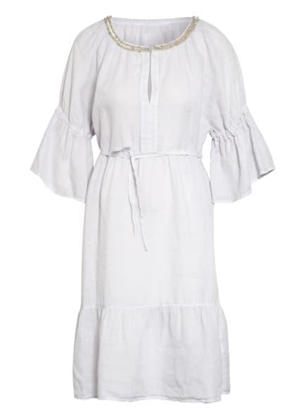 120%lino Leinenkleid mit Schmucksteinbesatz, Farbe: WEISS (Bild 1)