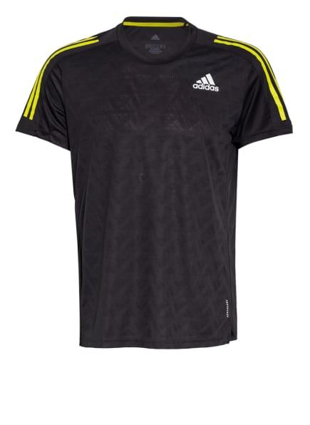 adidas T-Shirt OWN THE RUN , Farbe: SCHWARZ/ NEONGELB (Bild 1)