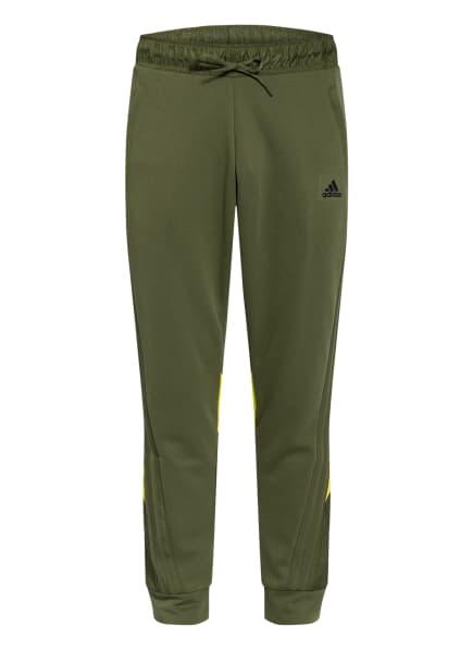 adidas Sweatpants FABRIC BLOCK, Farbe: OLIV/ NEONGRÜN (Bild 1)