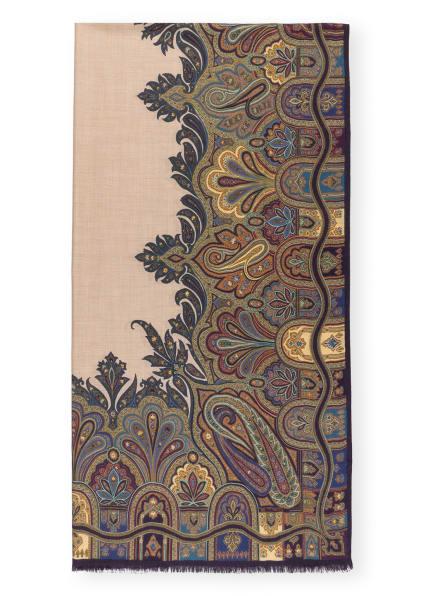 ETRO Cashmere-Schal mit Seide, Farbe: DUNKELLILA/ BEIGE/ BLAU (Bild 1)