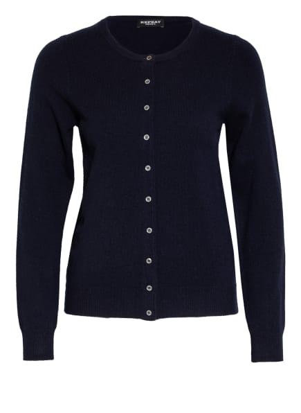 REPEAT Strickjacke aus Cashmere, Farbe: DUNKELBLAU (Bild 1)