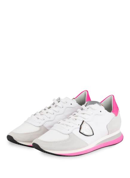PHILIPPE MODEL Sneaker TROPEZ, Farbe: WEISS/ CREME/ NEONPINK (Bild 1)