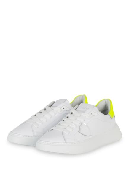PHILIPPE MODEL Plateau-Sneaker TEMPLE, Farbe: WEISS/ NEONGELB (Bild 1)