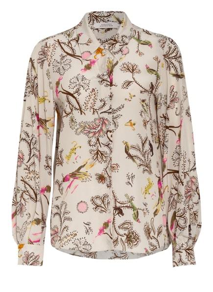DOROTHEE SCHUMACHER Hemdbluse aus Seide , Farbe: BEIGE/ DUNKELBRAUN/ ORANGE (Bild 1)