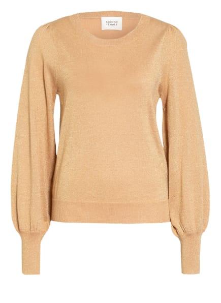 SECOND FEMALE Pullover LEA mit Glitzergarn, Farbe: GOLD (Bild 1)