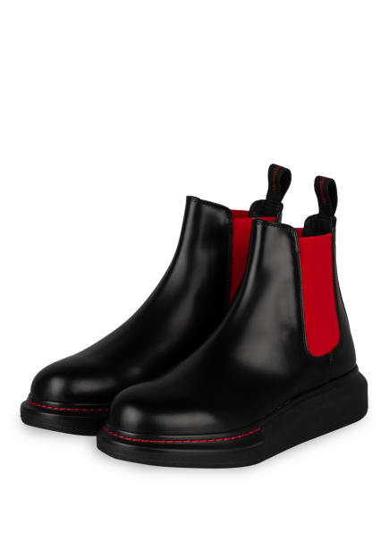 Alexander McQUEEN Chelsea-Boots, Farbe: SCHWARZ/ ROT (Bild 1)