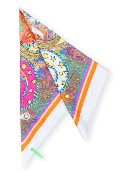 MUCHO GUSTO Dreieckstuch KIEV PLAIN aus Seide , Farbe: HELLBLAU/ ORANGE/ PINK (Bild 1)