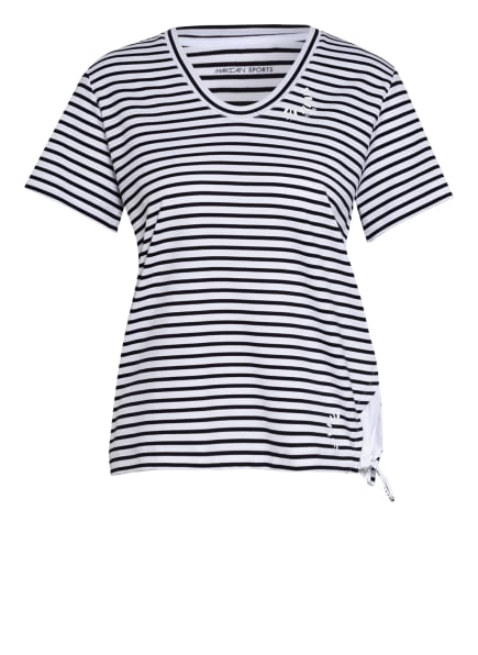 MARC CAIN T-Shirt im Materialmix, Farbe: 190 white and black (Bild 1)