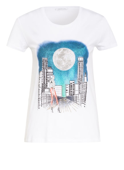 PATRIZIA PEPE T-Shirt mit Schmucksteinbesatz, Farbe: WEISS/ BLAU (Bild 1)