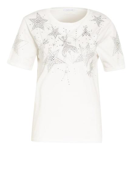 PATRIZIA PEPE T-Shirt mit Schmucksteinbesatz, Farbe: WEISS/ SILBER (Bild 1)
