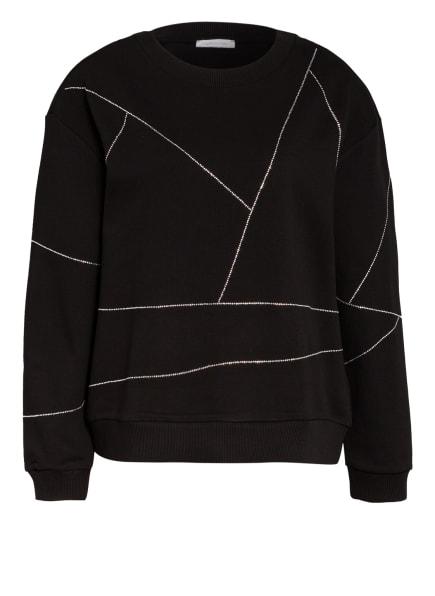 PATRIZIA PEPE Sweatshirt mit Schmucksteinbesatz, Farbe: SCHWARZ (Bild 1)