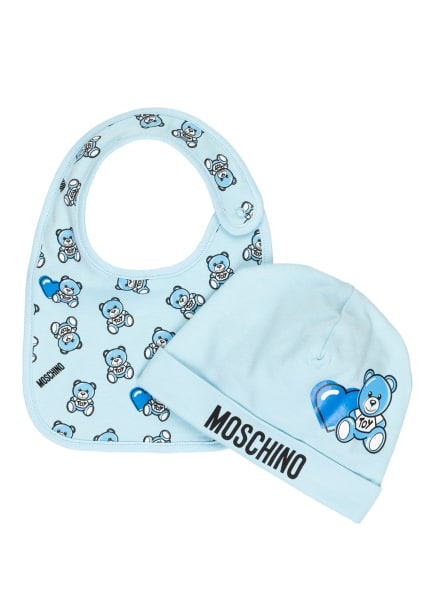 MOSCHINO Set: Mütze und Latz in Geschenkbox , Farbe: HELLBLAU (Bild 1)