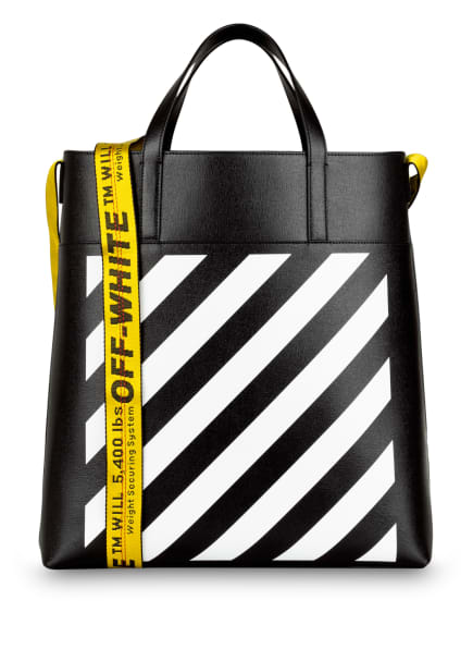 Off-White Saffiano-Shopper DIAG, Farbe: SCHWARZ/ WEISS (Bild 1)