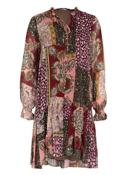 FrogBox Kleid mit Rüschenbesatz, Farbe: ROSA/ DUNKELROT/ OLIV (Bild 1)