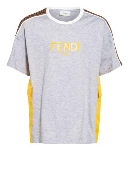 FENDI T-Shirt mit Galonstreifen , Farbe: HELLGRAU/ DUNKELGELB (Bild 1)