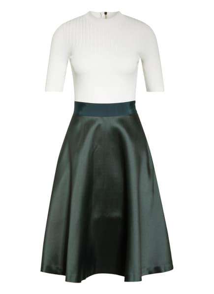 TED BAKER Kleid BETSIYY im Materialmix, Farbe: WEISS/ DUNKELGRÜN (Bild 1)