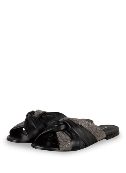 FABIANA FILIPPI Pantoletten mit Schmucksteinbesatz , Farbe: SCHWARZ/ SILBER (Bild 1)