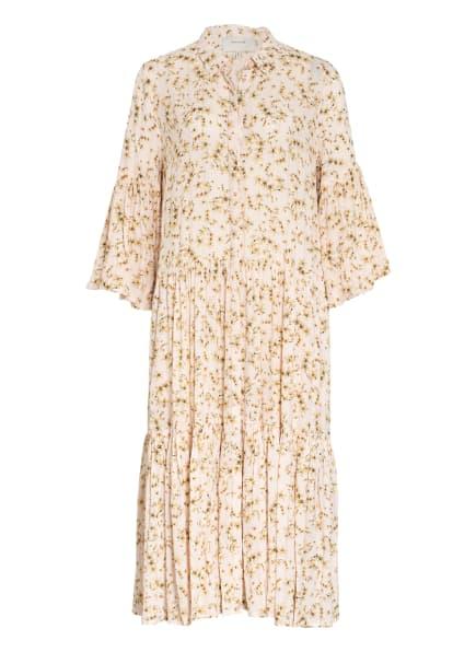 MUNTHE Hemdblusenkleid FOND mit 3/4-Arm und Glitzergarn, Farbe: CREME/ BEIGE/ GOLD (Bild 1)