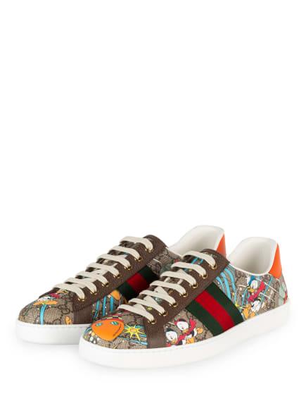 GUCCI Sneaker NEW ACE GG SUPREME, Farbe: BRAUN/ ROT/ GRÜN (Bild 1)