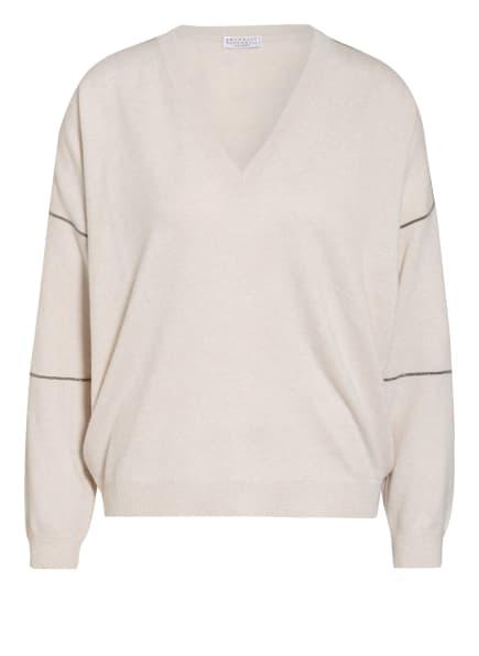 BRUNELLO CUCINELLI Pullover mit Cashmere und Perlenbesatz, Farbe: ECRU (Bild 1)