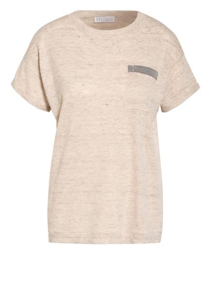 BRUNELLO CUCINELLI T-Shirt aus Leinen mit Schmucksteinbesatz, Farbe: BEIGE/ HELLBRAUN (Bild 1)