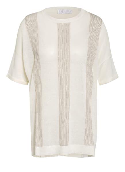 BRUNELLO CUCINELLI T-Shirt aus Leinen mit Schmucksteinbesatz, Farbe: ECRU/ SILBER/ HELLBRAUN (Bild 1)