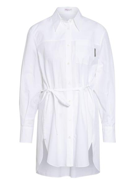 BRUNELLO CUCINELLI Hemdbluse mit Schmucksteinbesatz , Farbe: WEISS (Bild 1)