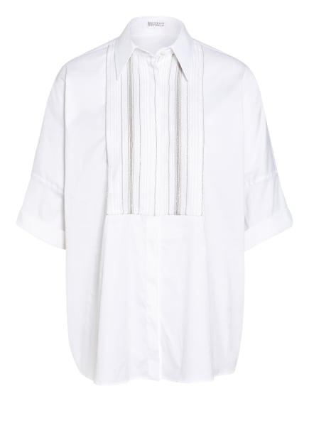 BRUNELLO CUCINELLI Oversized-Hemdbluse mit Schmucksteinbesatz, Farbe: WEISS/ SILBER (Bild 1)